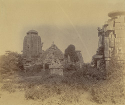 General view of Brahmeshvara and surrounding temples, from the south, Bhubaneshwar